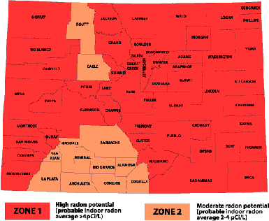 Boulder Radon Testing Mitigation Colorado Radon Map